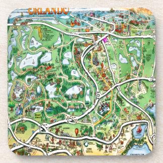 Mapa del dibujo animado de Orlando la Florida Posavasos De Bebida