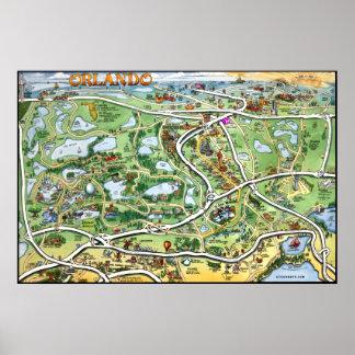 Mapa del dibujo animado de Orlando la Florida Póster