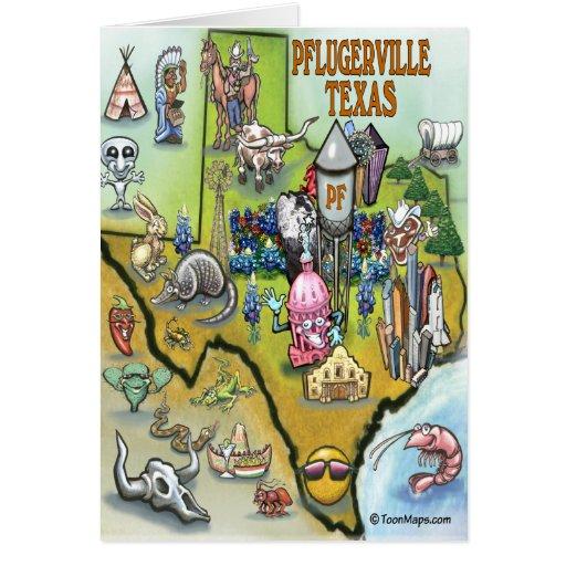 Mapa del dibujo animado de Pflugerville Tejas Tarjeta De Felicitación