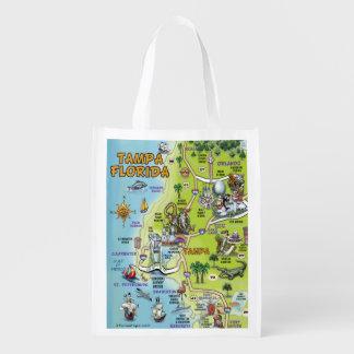 Mapa del dibujo animado de Tampa la Florida Bolsas De La Compra
