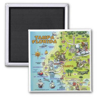 Mapa del dibujo animado de Tampa la Florida Imán Cuadrado