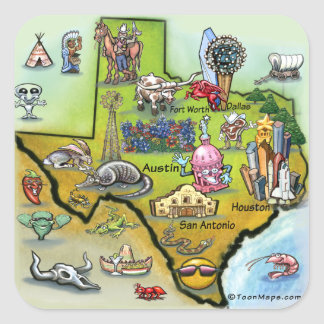 Mapa del dibujo animado de Tejas Pegatina Cuadrada