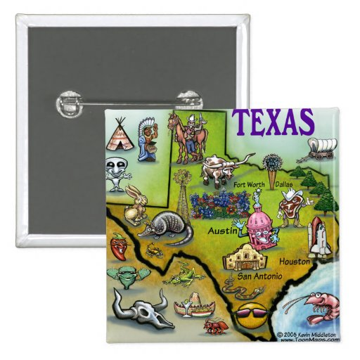 Mapa del dibujo animado de TEJAS Pin Cuadrado