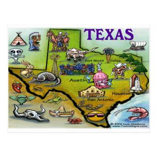 Mapa del dibujo animado de TEJAS Tarjeta Postal
