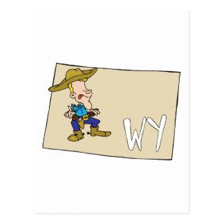 Mapa del dibujo animado de Wyoming WY con un vaque Postales