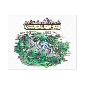Mapa del dibujo animado del du Mont Blanc del Impresiones En Lona Estiradas