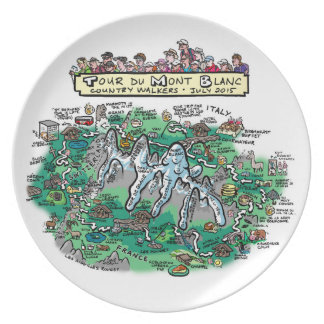 Mapa del dibujo animado del du Mont Blanc del Plato De Comida