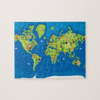 Mapa del dibujo animado del rompecabezas del mundo