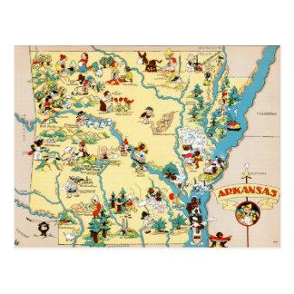 Mapa del dibujo animado del vintage de Arkansas Tarjeta Postal