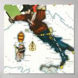Mapa del dibujo animado del vintage de Italia Poster