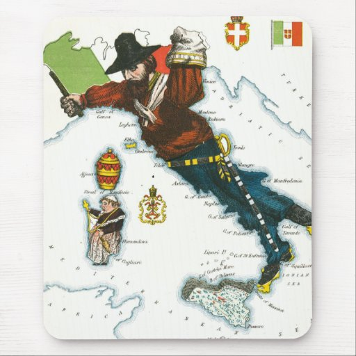 Mapa del dibujo animado del vintage de Italia Tapete De Raton