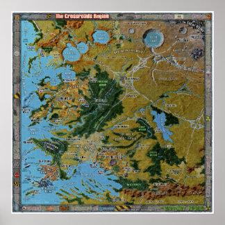 Mapa del diccionario geográfico de la región de póster