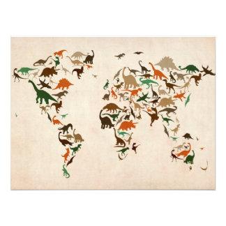 Mapa del dinosaurio del mapa del mundo fotografia