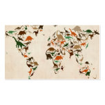 Mapa del dinosaurio del mapa del mundo tarjetas de visita