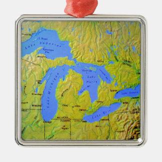 Mapa del diseño de Great Lakes Adorno Navideño Cuadrado De Metal