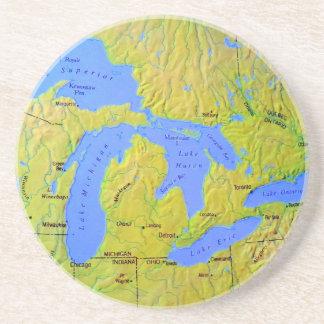 Mapa del diseño de Great Lakes Posavasos Cerveza