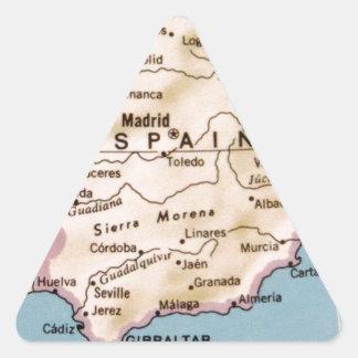 Mapa del diseño del vintage de España Pegatina Triangular