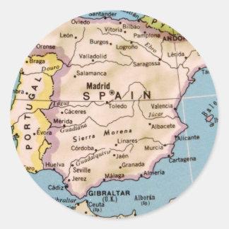 Mapa del diseño del vintage de España Pegatina Redonda