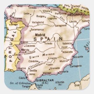 Mapa del diseño del vintage de España Pegatina Cuadrada