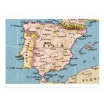 Mapa del diseño del vintage de España Postal