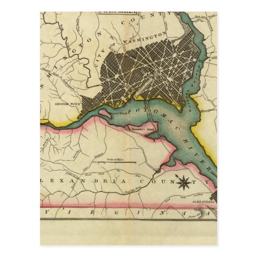 Mapa del distrito de Columbia Tarjeta Postal