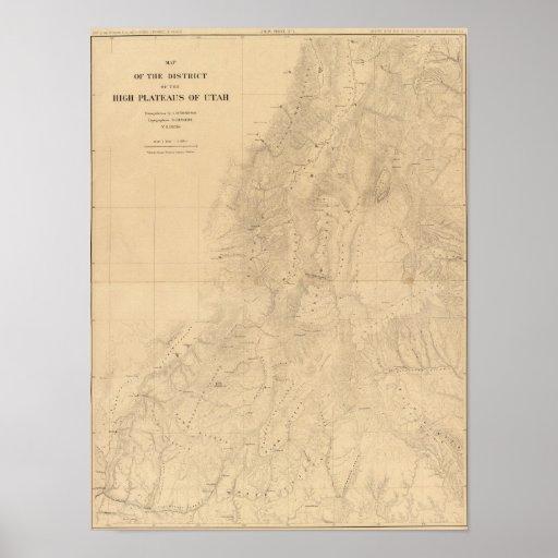 Mapa del distrito de las altas mesetas de Utah Póster