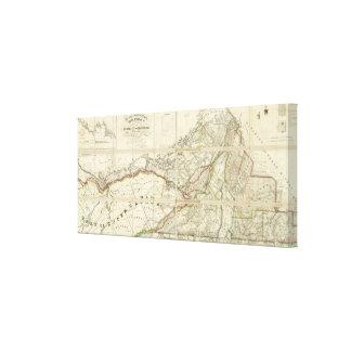 Mapa del distrito de Montreal, Canadá más bajo Impresión En Lienzo Estirada