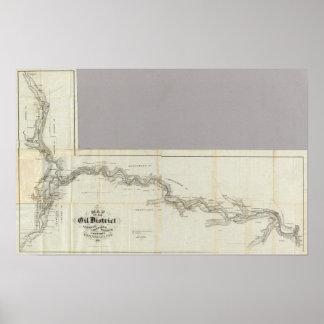 Mapa del distrito Venango del aceite Póster
