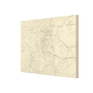 Mapa del drenaje de Colorado Lienzo Envuelto Para Galerias
