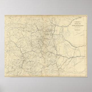 Mapa del drenaje de Colorado Póster