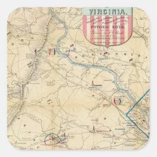 Mapa del ejército de Seat de la guerra en Virginia Pegatina Cuadrada