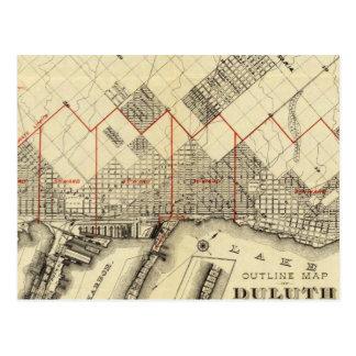 Mapa del esquema de Duluth y de suburbios Tarjeta Postal