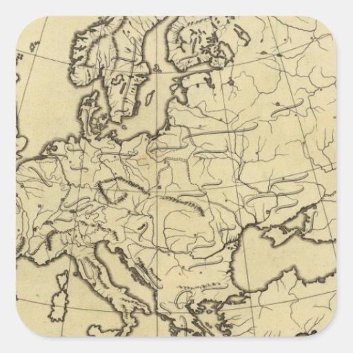 Mapa del esquema de Europa Pegatina Cuadrada