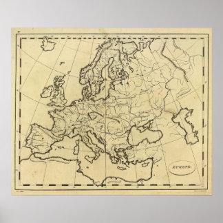 Mapa del esquema de Europa Póster