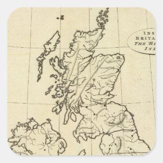 Mapa del esquema de las islas británicas pegatina cuadrada