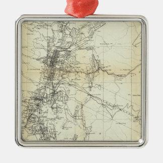 Mapa del esquema del distrito de Washoe Adorno Cuadrado Plateado