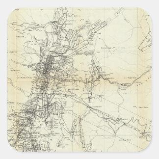 Mapa del esquema del distrito de Washoe Pegatina Cuadrada