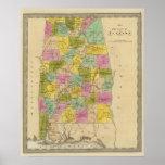 Mapa del estado de Alabama Póster