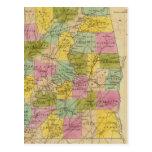Mapa del estado de Alabama Tarjeta Postal
