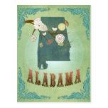 Mapa del estado de Alabama - verde Postal