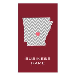Mapa del estado de Arkansas con el corazón y el Tarjetas De Visita