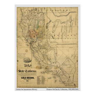 Mapa del estado de California, 1851 Impresiones