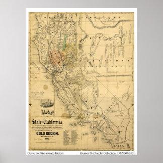 Mapa del estado de California, 1851 Póster