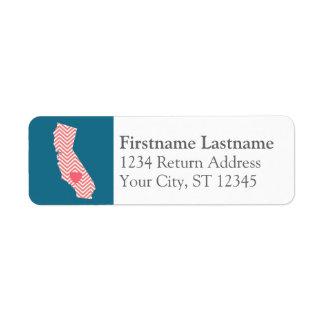Mapa del estado de California con el corazón y el  Etiquetas De Remite