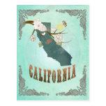Mapa del estado de California del vintage - azul t Tarjeta Postal