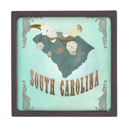 Mapa del estado de Carolina del Sur del vintage -  Caja De Recuerdo De Calidad
