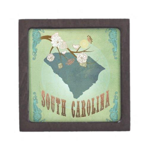 Mapa del estado de Carolina del Sur del vintage -  Caja De Regalo De Calidad