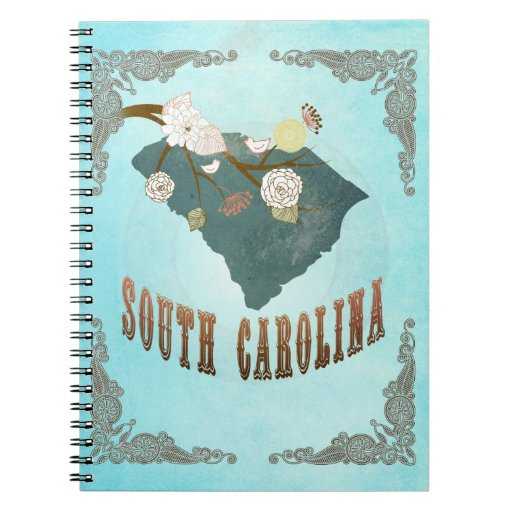 Mapa del estado de Carolina del Sur del vintage -  Note Book