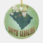 Mapa del estado de Carolina del Sur del vintage - Adorno Redondo De Cerámica
