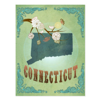 Mapa del estado de Connecticut - verde Postal